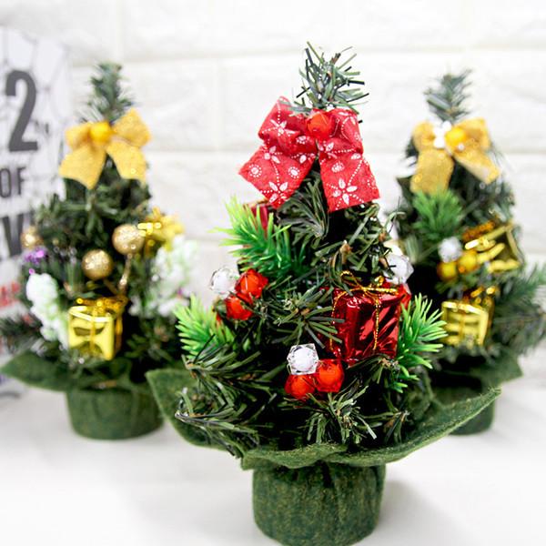 1Pcs Mini Christmas Golden Tree Christmas Decoration Family Party Decoration Table Desktop Display