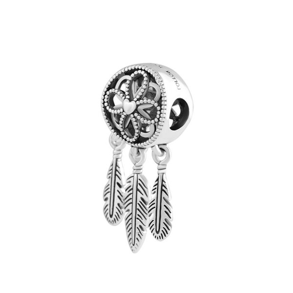 2018 New 925 Sterling Silver Bead Charm Openwork Flower Feather Spiritual Dream Catcher Pendant Bead Fit Pandora Bracelet Diy Jewelry