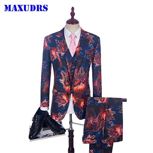 2018 costume de mode flamme costume pour hommes occasionnels de scène de vêtements de scène Vintage Mens imprimé costumes de bal de bal (Blazer + Vest + Pant)