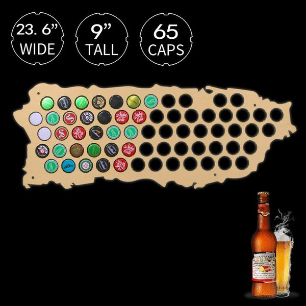 1Piece Wall Mounted Beer Cap Map Of Puerto Rico Wooden Map Display Board Wood Craft For Cap Collector Beer Drinker