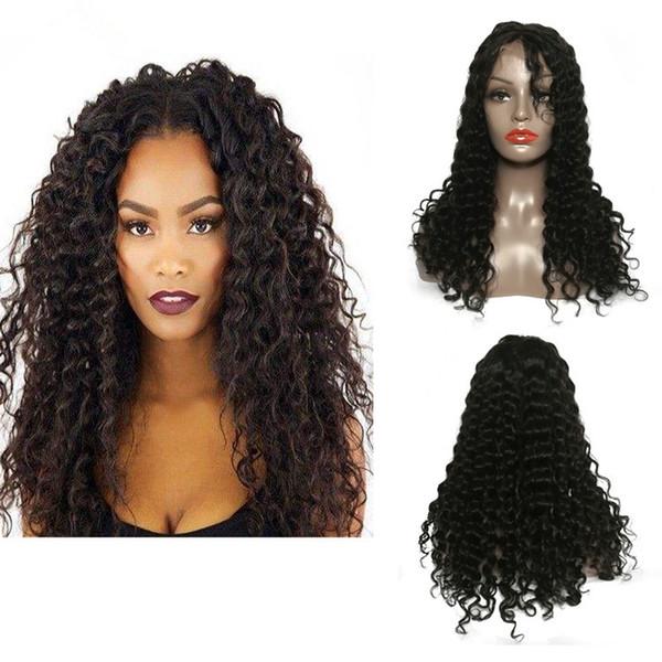 100% unprocessed shine lovely virgin human hair aaaaaaaaa natural color kinky curly long full lace top wig for sale