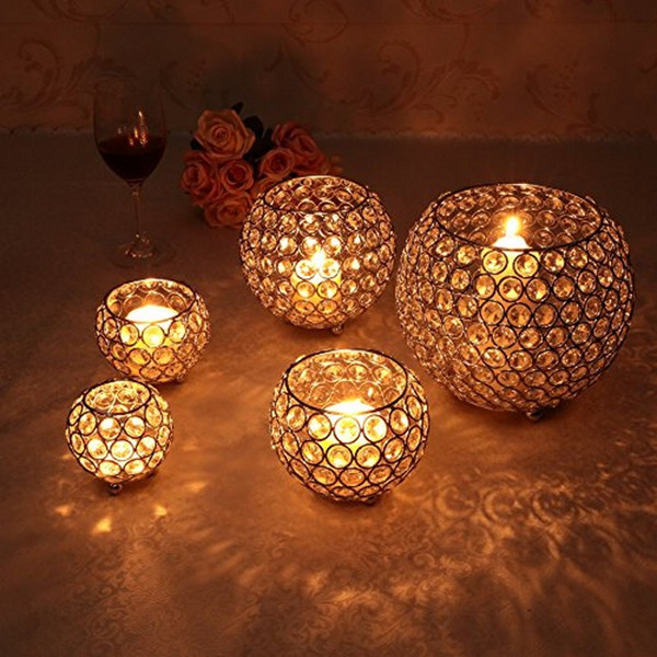 Crystal Tealight Candle Lantern Bowl Holders Mumluk for Wedding Party Home Christmas New Year Decoration Dinning Table Centerpieces