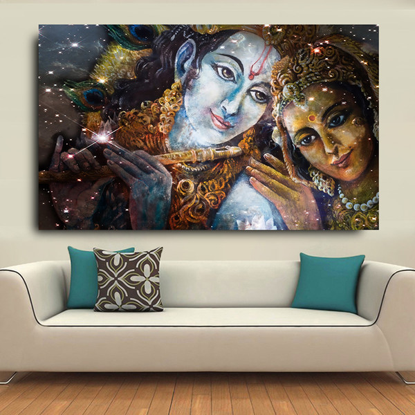 Large Size Krishna e Radha Buddha HD Dipinti ad olio su tela per soggiorno Immagini di Wall Art Soggiorno Poster incorniciato