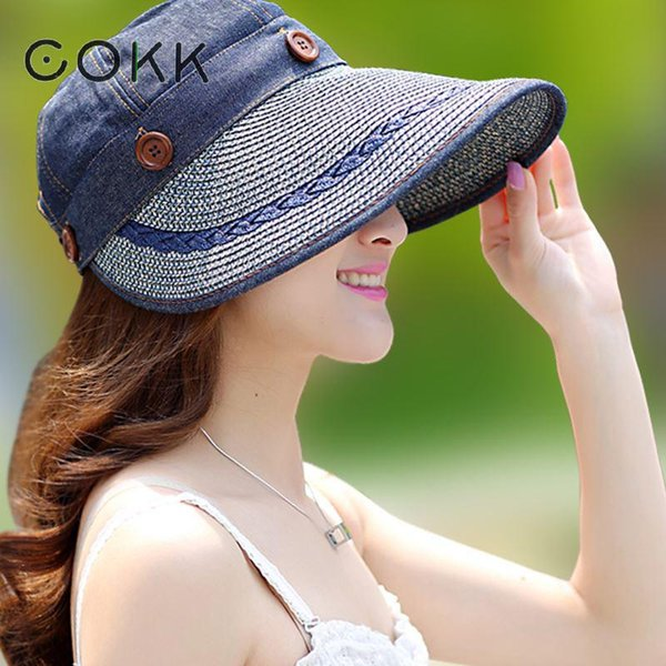 Cokk Hats Women Wide Large Brim Floppy Summer Beach Sun Hat Straw Hat Button Cap Summer Hats For Women Anti -Uv Visor Cap Female