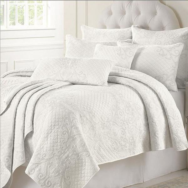 Ensemble de couverture de lit de coton matelassé blanc brodé Ensemble de douillette de climatiseur 225 * 260cm avec 2 pcs taie d'oreiller 50 * 70cm
