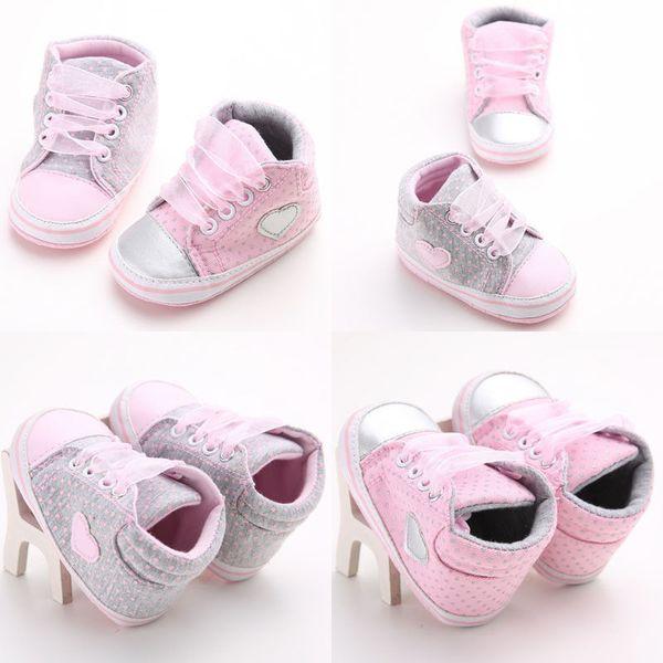 2018 Heart Lace Pre-Walker For Newborn Baby Anti-slip Boy Girls Polka Dot Shoes Trainers