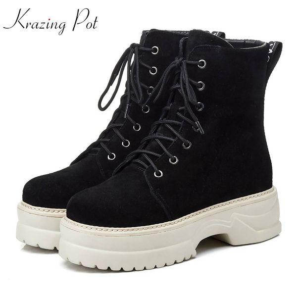 Krazing pot cow suede round toe lace up western cowboy high heels platform European keep warm long leg superstar ankle boots L63