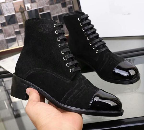 Kadın Stil 3 renk ayak bileği çizmeler moda dantel-up çizmeler Hakiki deri düşük topuk parti ayakkabı kadın boyutu 35-40