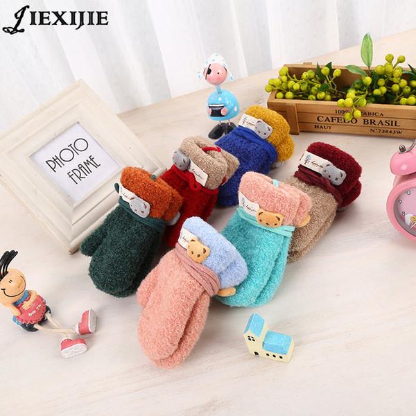 Japanese Bear Pendant Kids Knitt Gloves Children's thickening Warm Boy Girls Winter Glove jacquard gloves Coral velvet Mittens