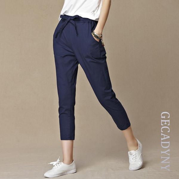 Free Shipping Women Loose Original Design Vintage Linen Female Dazzling Female Drawstring Pants Pure Capris Harem TrousersY1882501