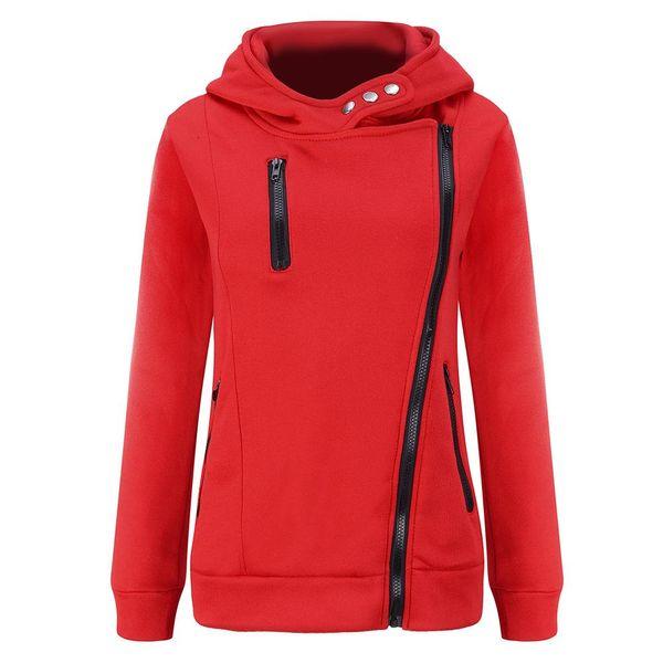 spring autumn winter new fashion Europe America diagonal zipper hit color plus velvet thick sweater slim jacket female S-2XL 2018 New FYW