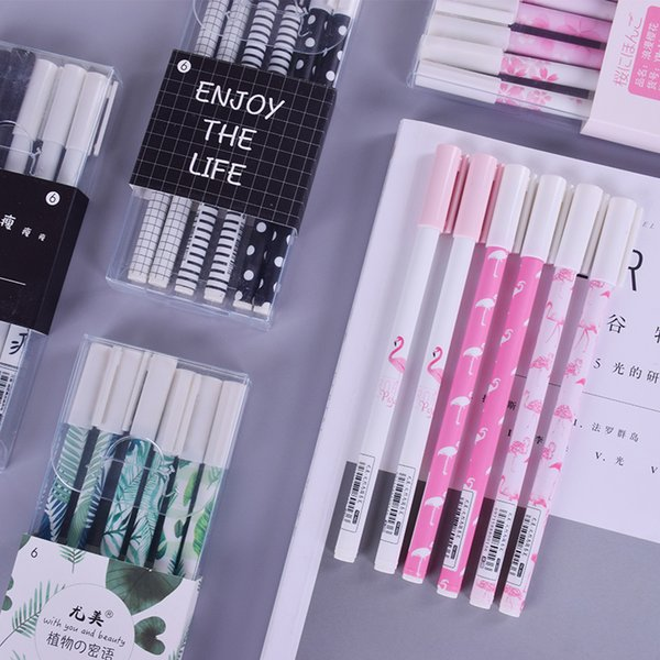 JUNHUI 3 Pcs/Lot Pink Flamingo Green Plant Student Gel Pen Black Writting Pens Canetas Material Escolar Staitonery Supplies