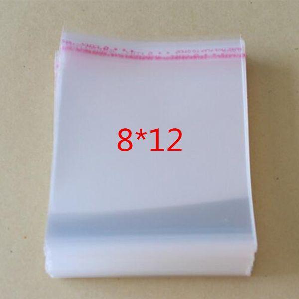 100 Pcs Self Adhesive Plastic Bag Self Adhesive Seal Bag Clear Resealable Cellophane/Poly Bags 12*8cm Transparent OPP Bag