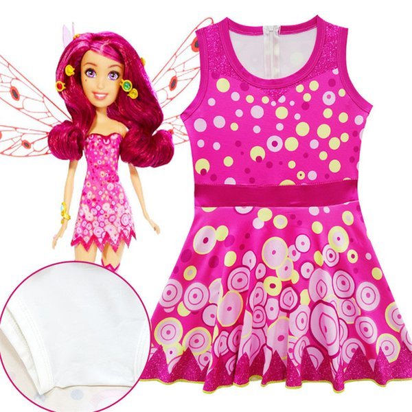 Baby girl mia and me dress swimwear 2018 New kids fashion Cartoon princess pattern sleeveless sling dresses 3-9years B11