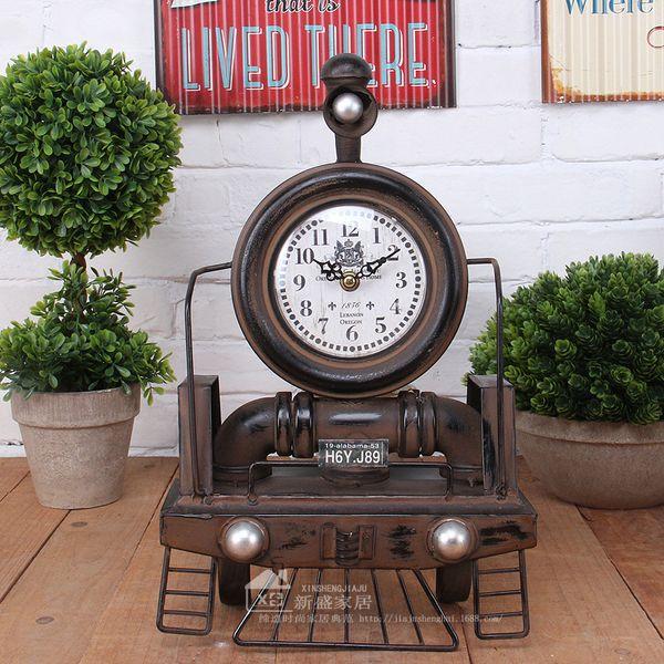 Antique Style Clocks Mechanism Cool Desk Table clocks Large novelty unique pendulum european iron Home Decor Train clock