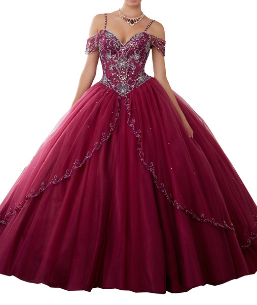 Sexy wine red skirt multi-layer net tail adult dress, deep V collar card shoulder sleeve, shoulder strap and back strap cheap mail.