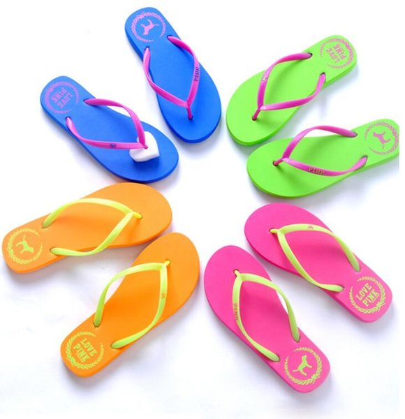 Summer Sandals Girls Love Pink Flip Flops Pink Letter Beach Slippers Shoes Women Soft Sandalias VS Casual Rubber Sandals