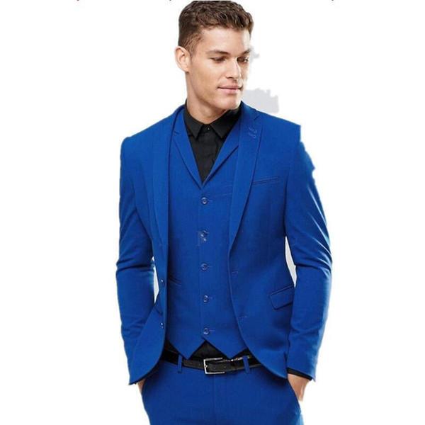 Groom Suit Men Tuxedos Custom Made Wedding Suits Grooms Tuxedos Mens Suits Slim Fit Groomsmen Tuxedos (Jacket+Pants+vest)