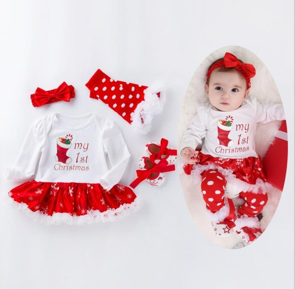 Long Sleeve Snowflake Baby Christmas Clothes Four-piece Set 0-2 Years Baby Girls Dress Suit Sweet Christmas Clothes