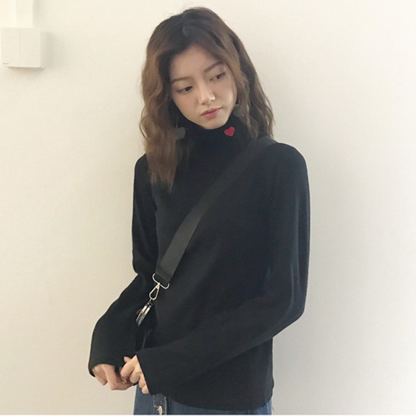 Autumn Winter Red Heart Embroidery T shirts Korean Fashion Striped Women T Shirt Long Sleeve Turtleneck Ladies T-Shirts
