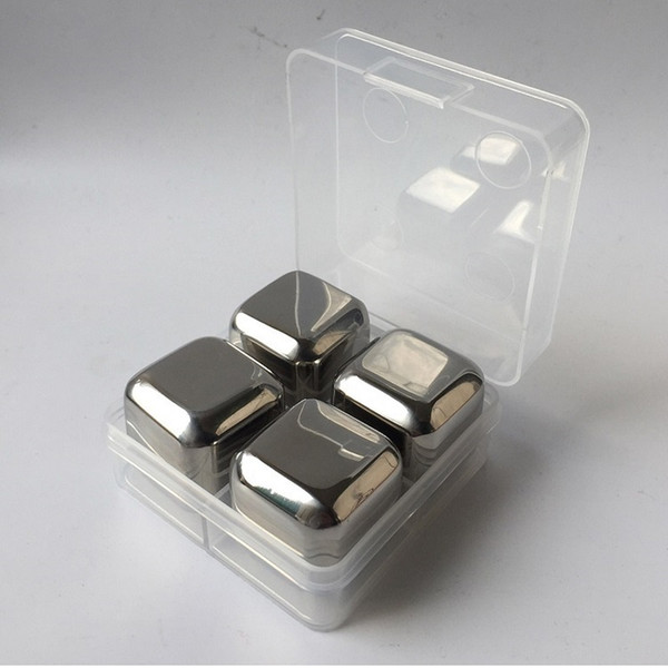 Food grade 304 stainless steel ice cube for freezing drink whiskey stones chiller cooler for bar 4pcs/set wen6756