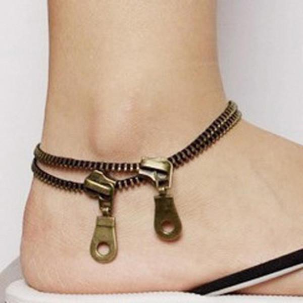Women Retro Chic Cool Double Bronze Zipper Zip Shaped Anklets Chain Foot Bracelet Hot Fashion Beauty Jewelry women anklet chain