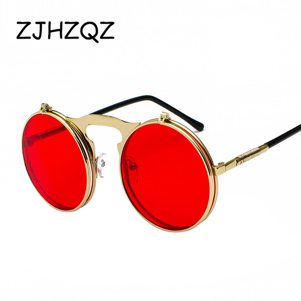 ZJHZQZ Flip Up Steampunk Sunglasses Men Round Vintage Spring Legs Brand Designer Outdoor Sports Sun Glasses