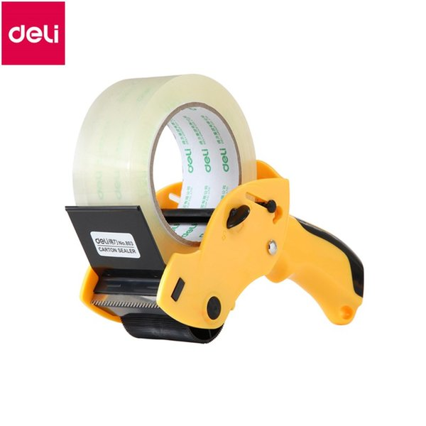 Deli 1pc Sealing device Packer tape cutter Capable 6cm Width Sealing Tape Holder Office Cutter Random Color