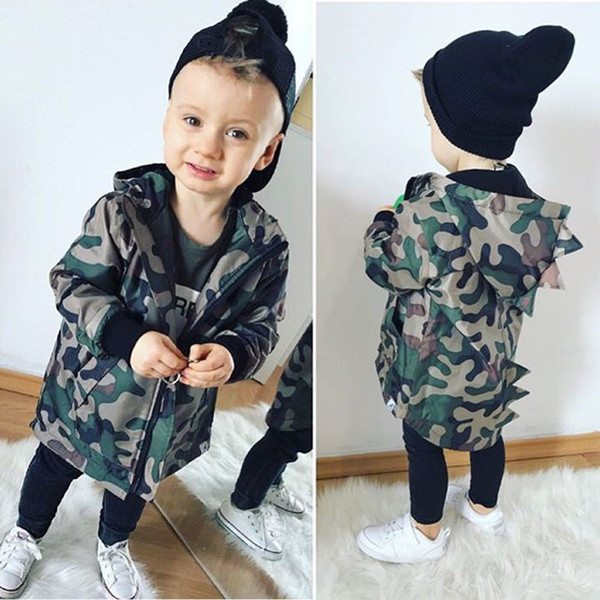 Pudcoco 2019 Brand New Dinosaur Hooded Kids Baby Boys Camouflage Zipper Clothes Hoodie Tops Jacket Coat