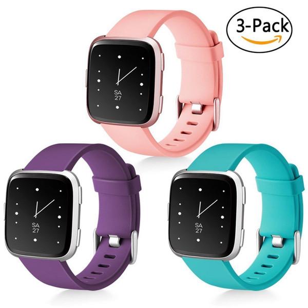 Fitbit Versa Classic Replacement Sport Band TPU Fitness Smart Watch Wrist Strap Peach Plum Teal (3 Pack)