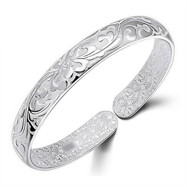 Retro 925 Sterling Silver Bangles For Women Lotus Flower Vintage Silver Jewelry Female Handmade Opening 3Y309