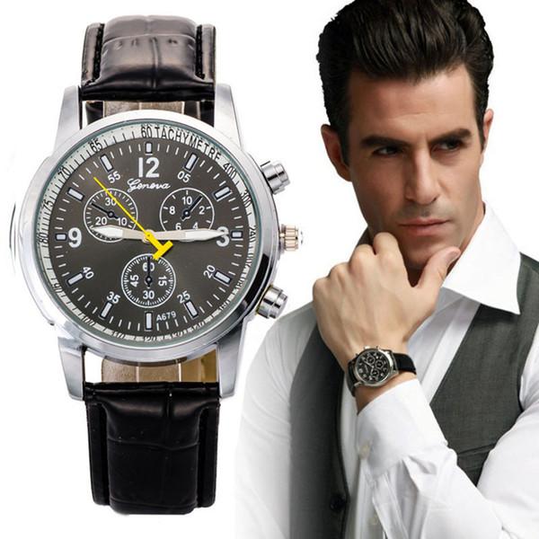 Mens Dress Business Watch Luxus Stilvolle Faux Krokodil Leder Männer Quarz Analog Uhr Uhren Herren Uhren Top-Marke