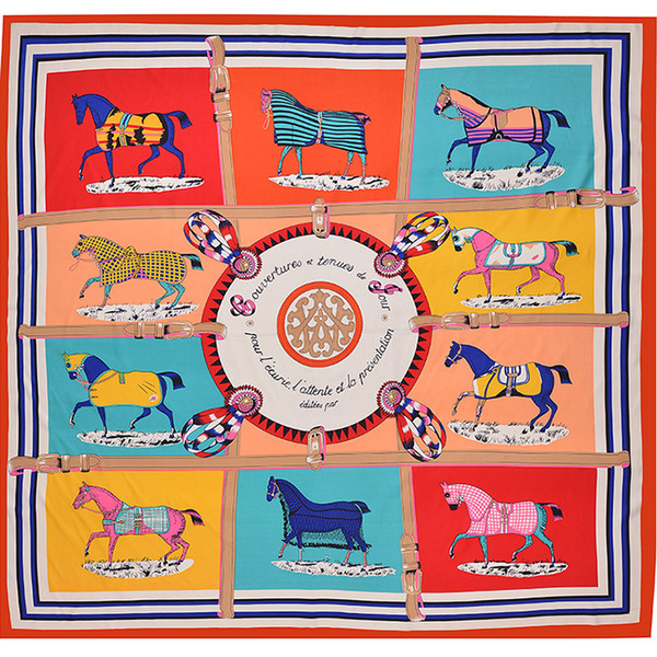 Paris Brand Square Women Ten Horse Print Scarf Luxury Animal Pattern Shawls Womens Silk Stole Foulard Femme Large Plaid Twill Scarf