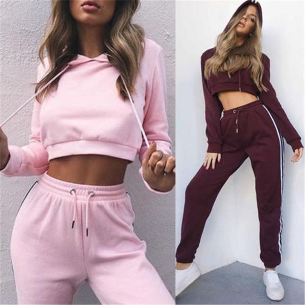 Fashion Women Long Sleeve Cotton Hoodie Sweatshirt Ladies Hooded Jumper Solid Top Tracksuit 2pcs Set Women Clothes