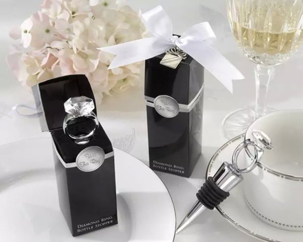 Home Party Favour Crystal Diamond Ring Red Wine Bottle Stopper For Wedding Bridal Shower Favors Gifts Boxed 50 set /lot