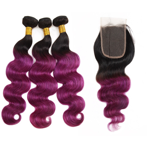Ishow 10A Brazilian Hair Ombre Color Hair Weaves Extensions 3Bundles with Closure T1B/Purple T1B/99J Body Wave Human Hair Straight