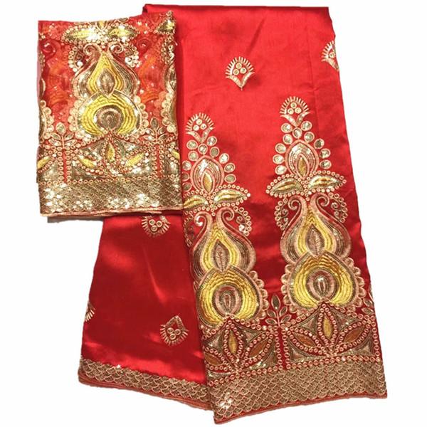 Африканский Джордж сырье шелковой ткани высокого качества нигерийский Джордж кружевной ткани с блестками красный Джордж Ваппер для нигерийской свадьбы