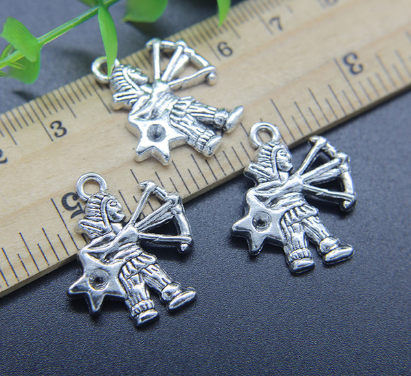 2018 Sagittarius Constellation Alloy Charms Pendant Retro Jewelry Making  DIY Keychain Ancient Silver Pendant For Bracelet Earrings 25*20mm From