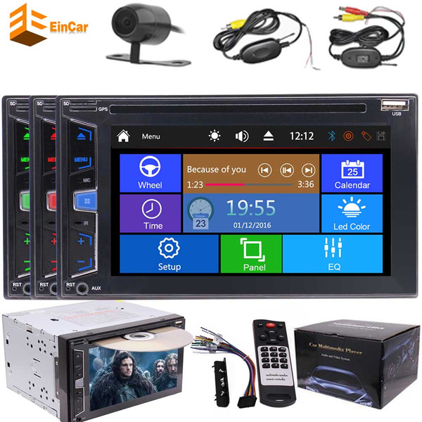Rear wireless view camera+Double 2 din car dvd player 2 din autoradio 6.2'' gps radio stereo car pc in dash headunit Bluetooth