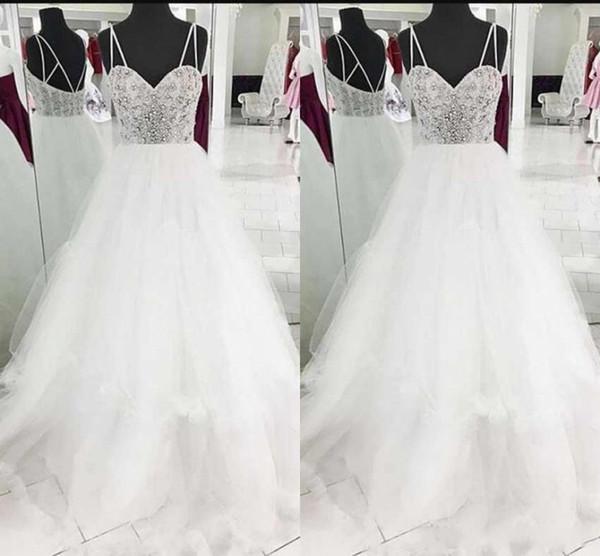 Modest White Wedding Dresses Sleeveless Spaghetti Straps Tulle Sweep Train Beaded Crystal Princess Bridal Gowns Custom Made