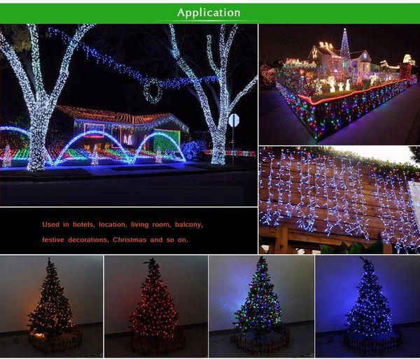 10 M 9 color Impermeable LED Holiday luz de la secuencia Navidad Fiesta de Boda Festival Twinkle Decor lámpara Bulbo 220V / 110V luz de tira