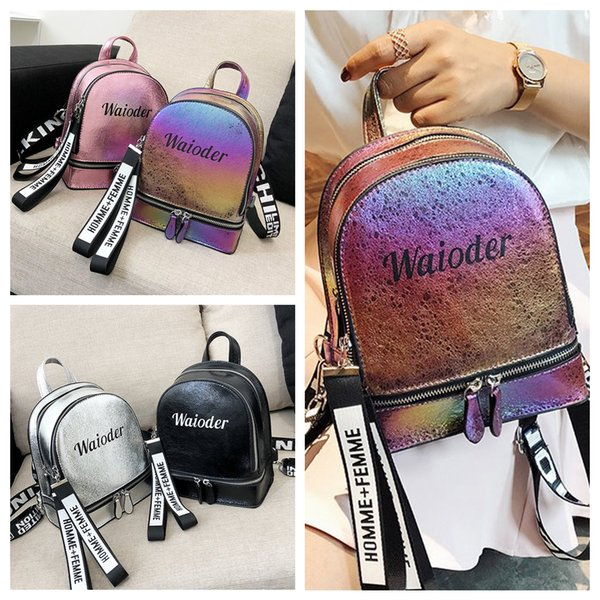 4styles Women PU Leather Letter Printed Backpack Double zipper girl school Bag outdoor travel fashion bag FFA649 50pcs