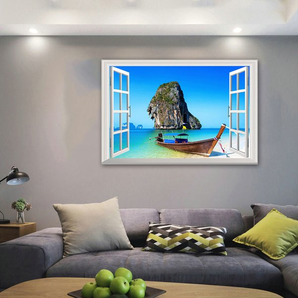 3D Window View Blue Sea Home Decor Wall Sticker Creative Scenery Living Room Office Decals Stickers Free shipping
