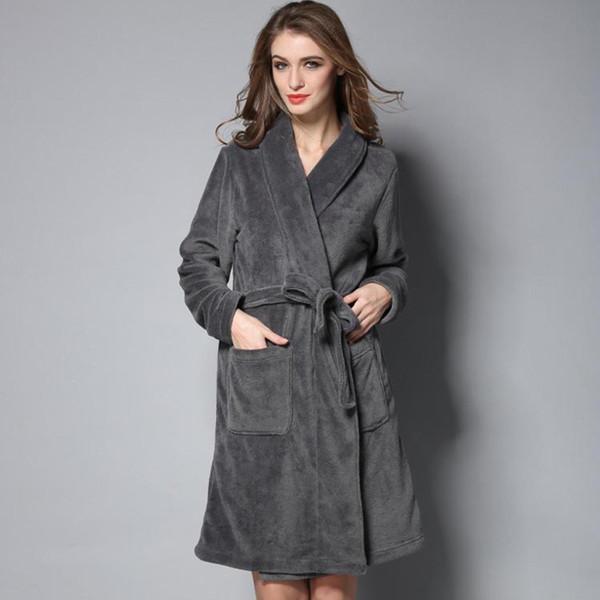 7f1d82e7e8949 Vente chaude Femmes Chaud Long Peignoir Polaire Polaire D'hiver Chemises De  Nuit Hommes Kimono