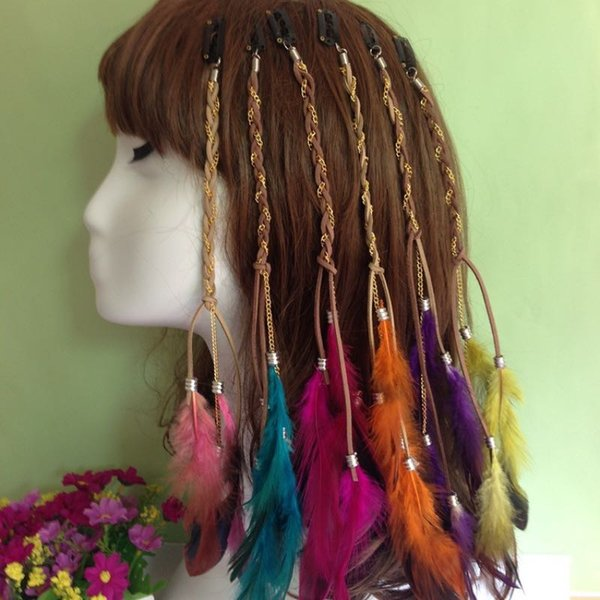 Handmade Bohemia Feather Hair Barrettes Fashion Colorful Hair Pigtail With Metal Chain Card BB Clip 8 Colors Wholesale