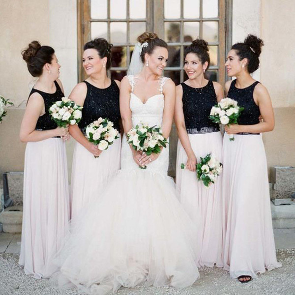 Floral Beading Mixed Color Bridesmaid Dresses White Black Long Bridesmaid Dresses Custom Made Chiffon Bridesmaid Gowns Wedding Guest Dresses Olive