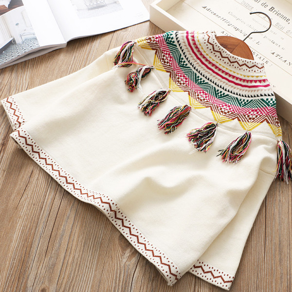 Girls Knit Tassel Sweaters Baby Girl Clothes Crochet Floral Jumper Pullover  Kids Clothing Winter Loose Poncho Girl Clothing Swimming Ponchos For