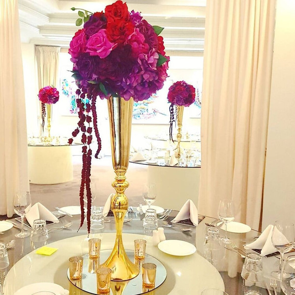 top popular Hot sell tall gold Slim metal flower vase , trumpet vases centerpieces for wedding & event home decoration LLFA 2019