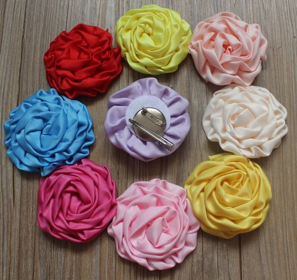 "40pcs 3"" Satin Ruffled Rolled Rose Puffy Hair Boutique Fabric Clip Flowers for Girls Hair Accessories"