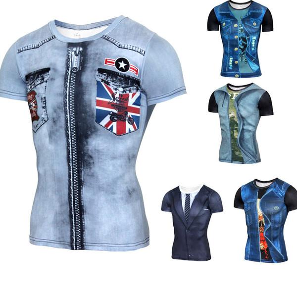 2018 Fashion 3D Print Tee Shirt Imitation Cowboy Men Short-sleeved Creative Funny Printing T-shirt Hip-Hop Youth Fake Two Pieces Suit S-4XL